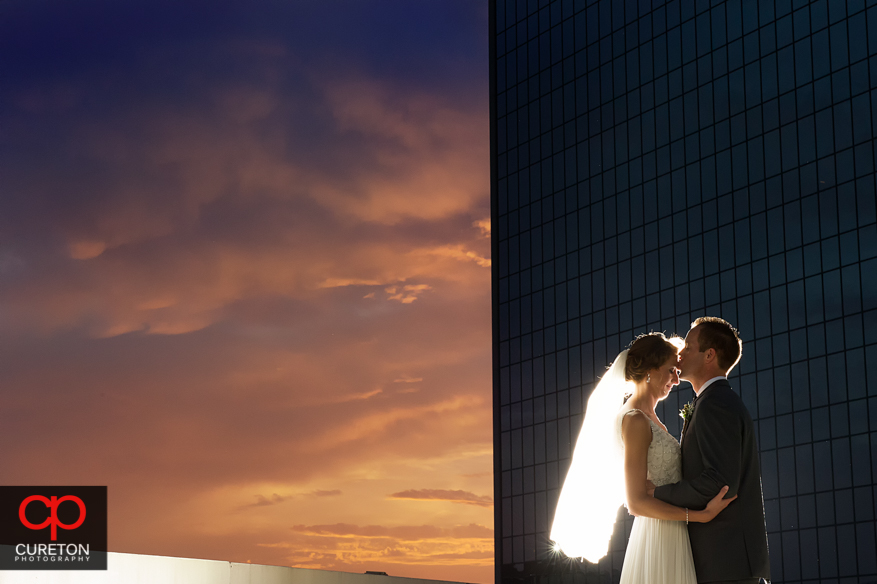 Bride and Groom at sunset after their Commerce Club wedding in Greenville,SC.