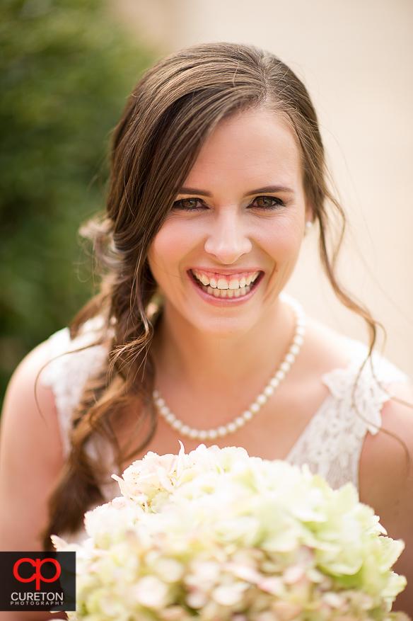 Beautiful Bride in downtown Greer before her wedding.