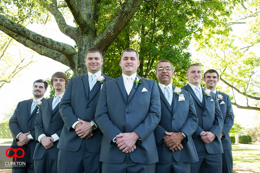 The groomsmen striking a pose.