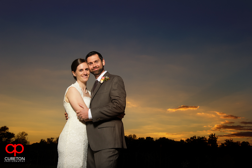 Groom and Bride at sunset.