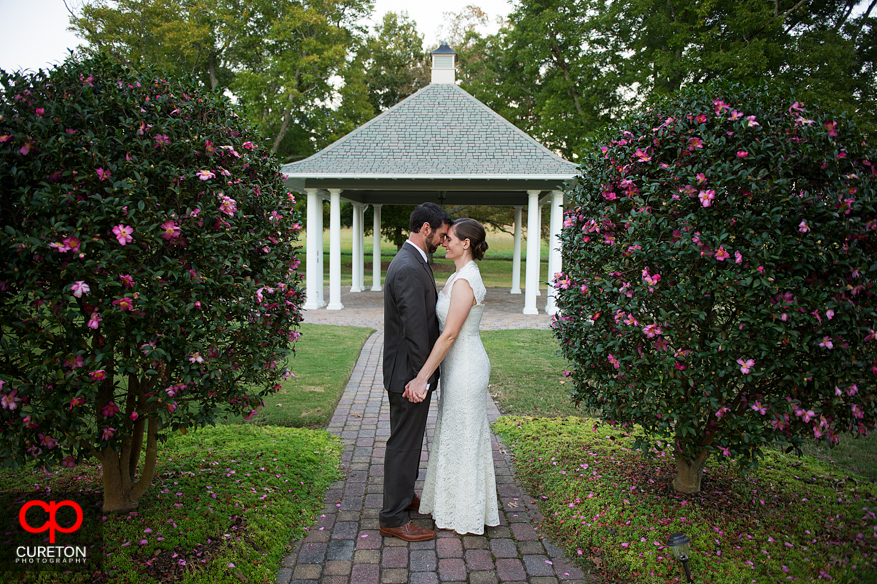 Bride and groom between bushes in courtyard.