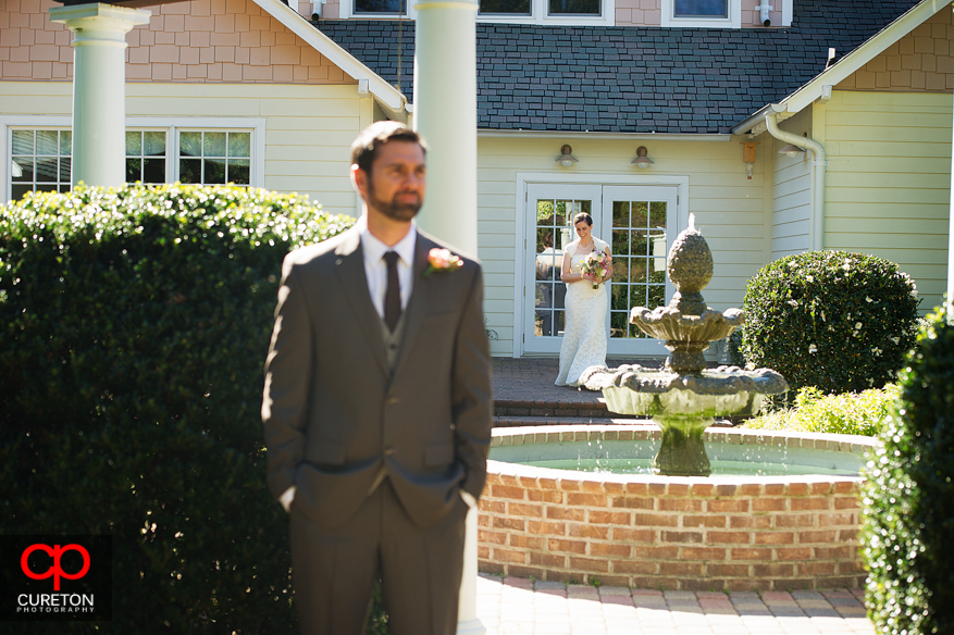 Groom waiting to see his bride.