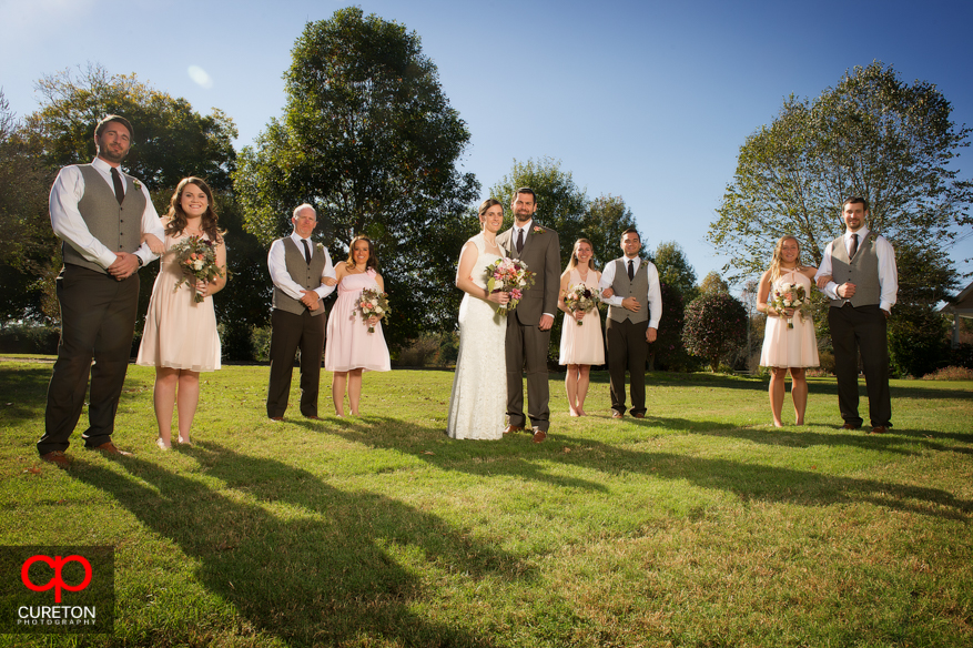 Wedding party in amazing sunlight.
