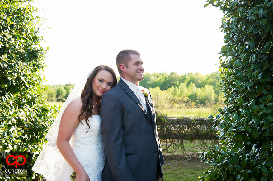 Bride and groom after their wedding at Lenora's Legacy.