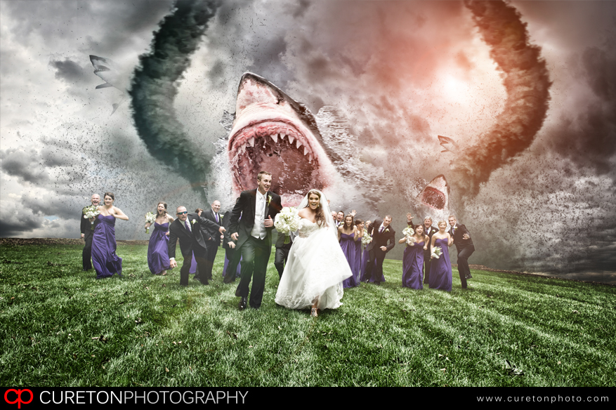 Wedding party being chased by a sharknado.