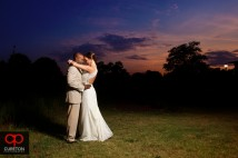 Bride and Groom after their the Loom wedding in Simpsonville,SC at sunset.