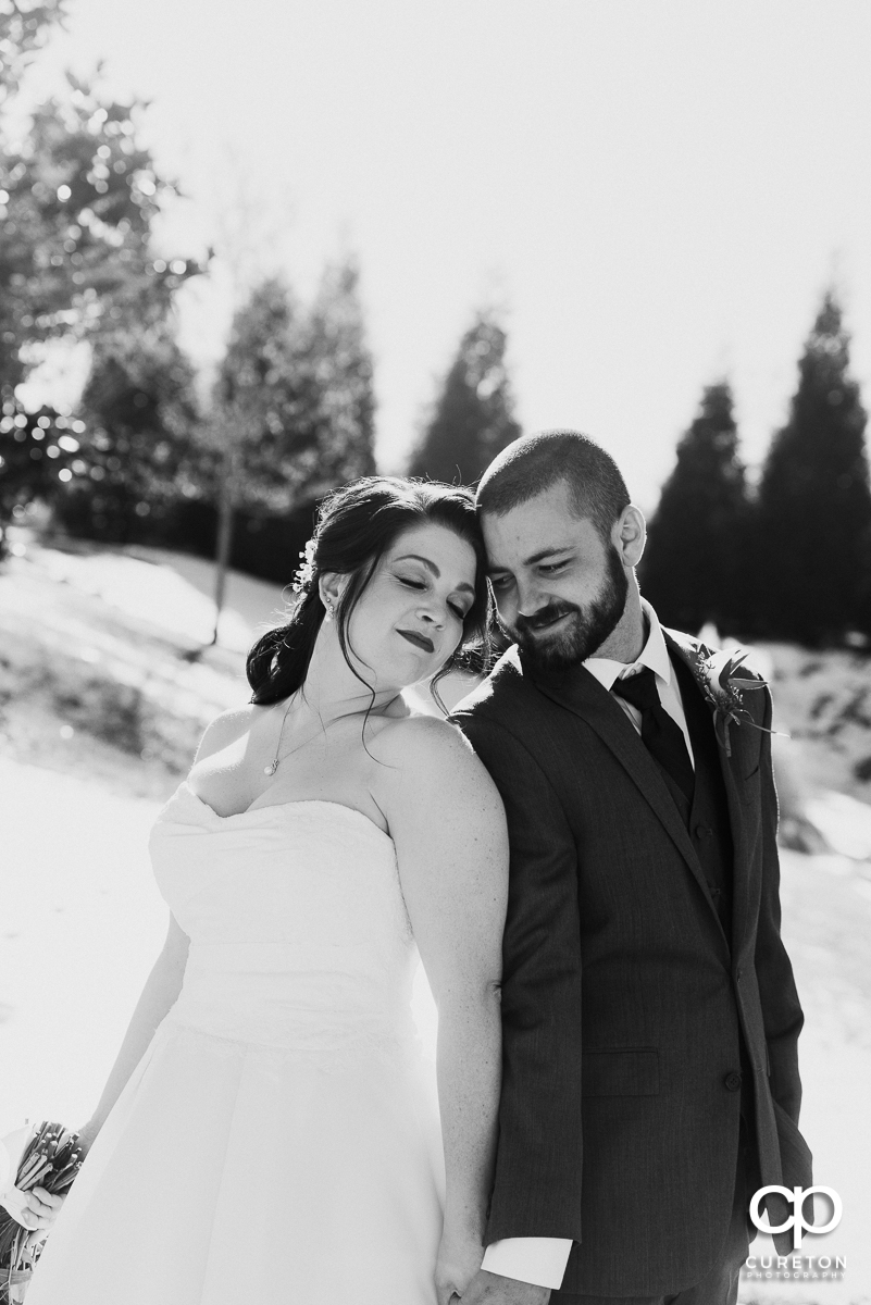 Black and white photo of a married couple.