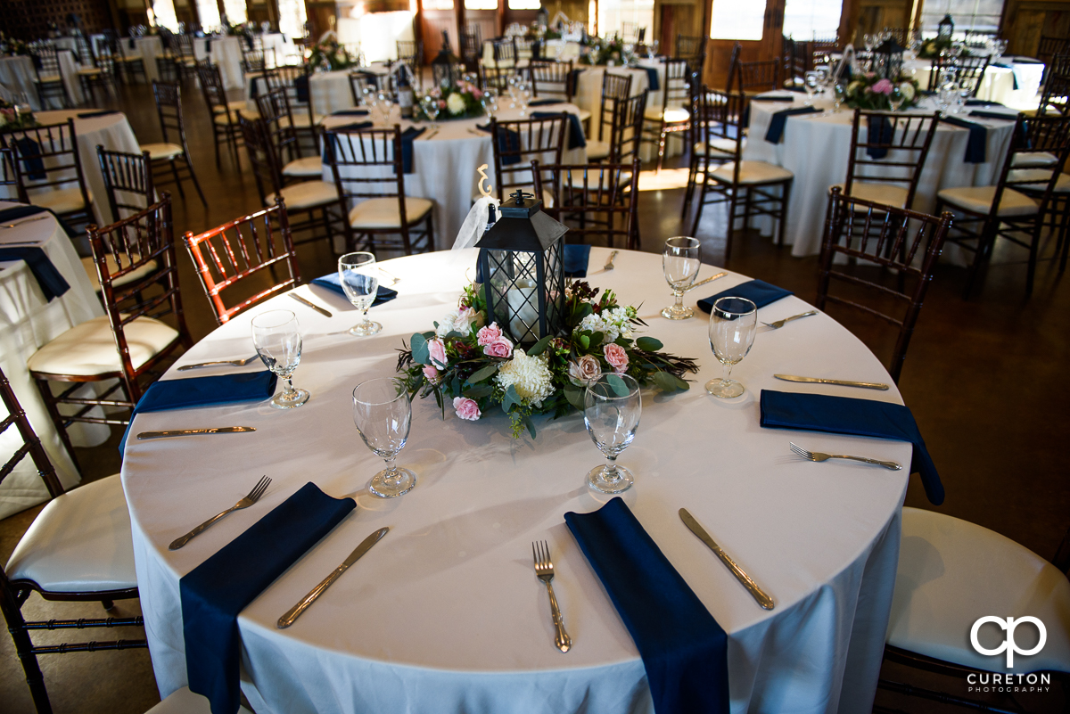 Table setting at the wedding reception at The Arbors in Cleveland NC.