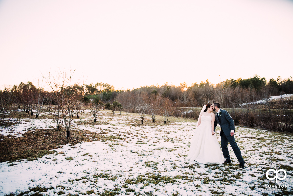 Bride and groom taking a walk in a snow covered pasture.