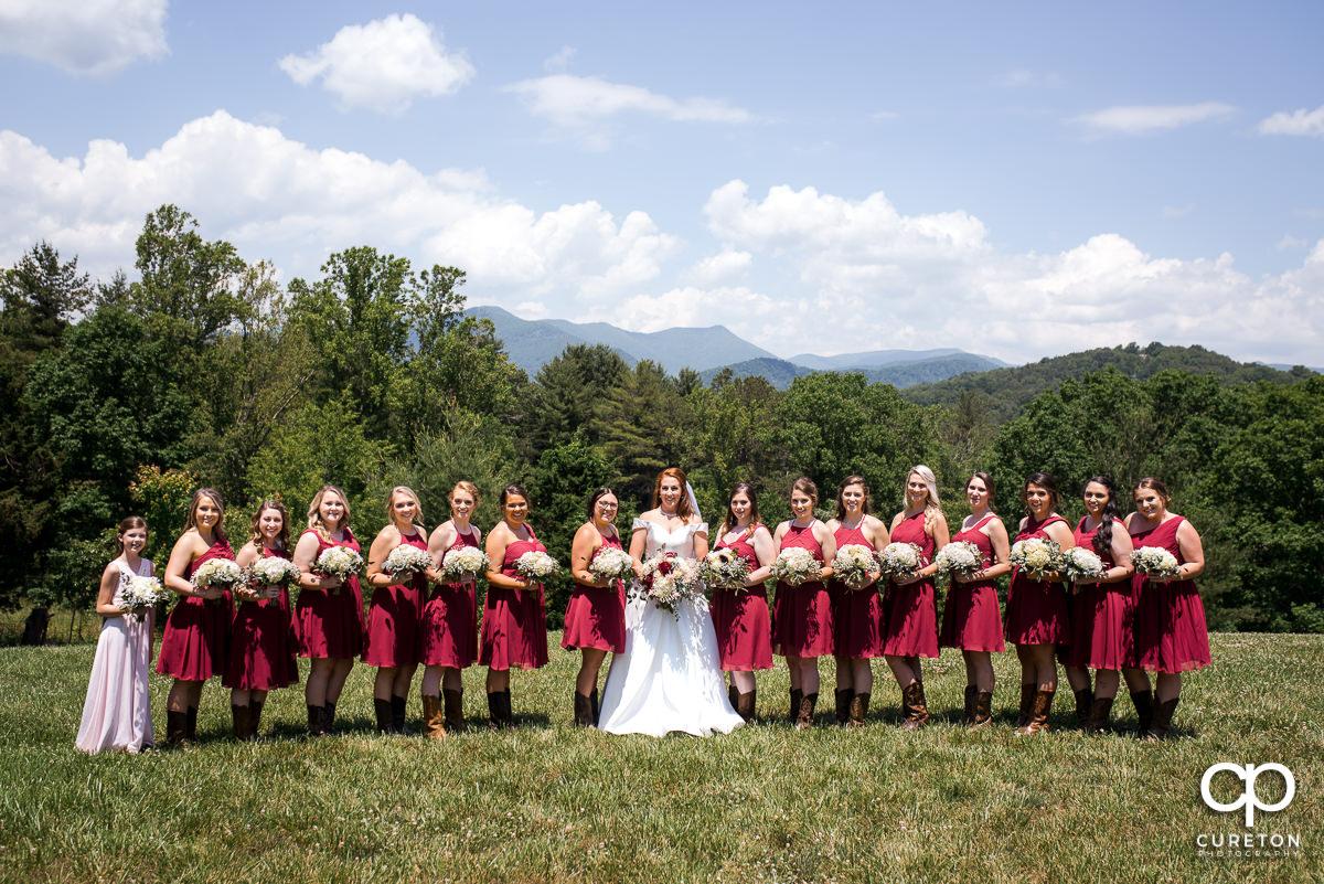 Bridesmaids in front of a mountain backdrop before their Asheville NC outdoor wedding.