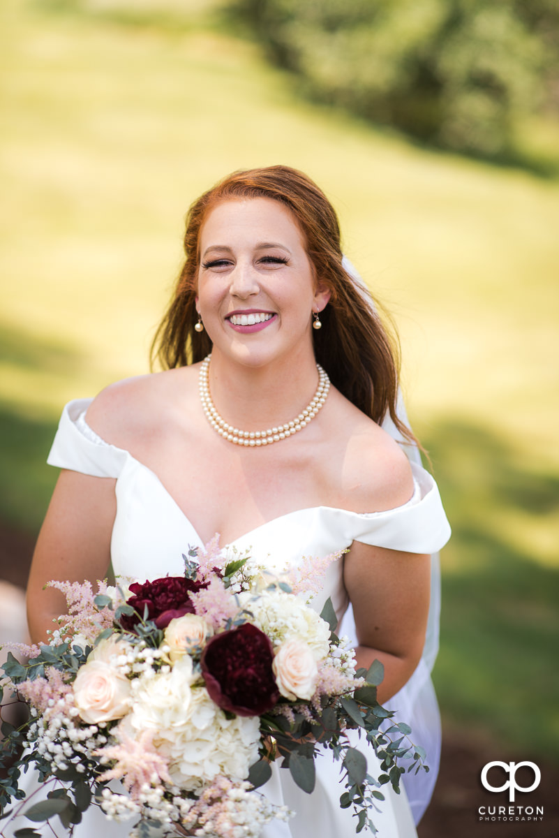 Bride before the outdoor wedding ceremony.