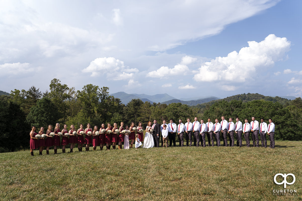 Wedding party standing in front of a mountain overlook at the outdoor wedding in Asheville,NC.
