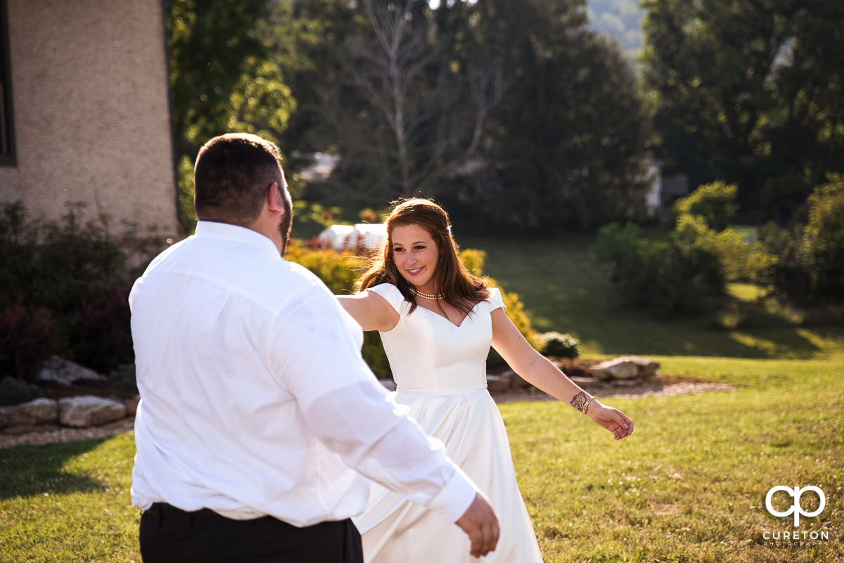 Frist dance at the Asheville,NC outdoor wedding reception.