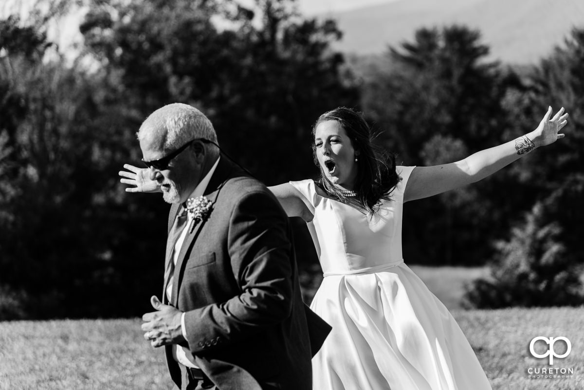 Bride dancing with her father at the reception.