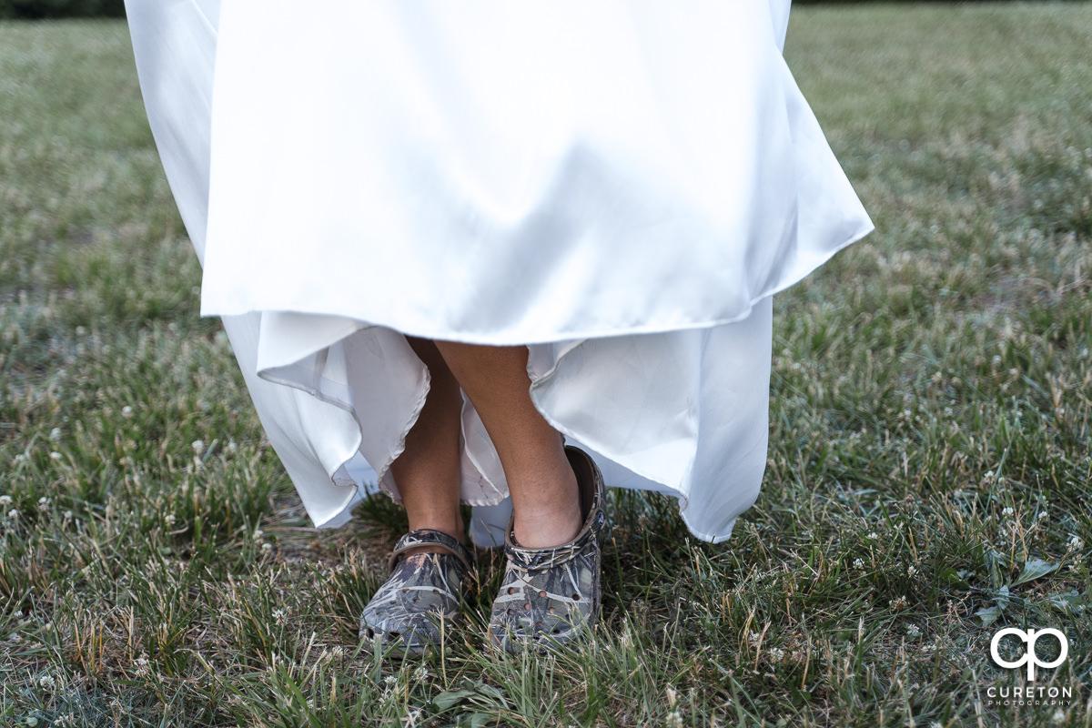 Bride's camo crocs.