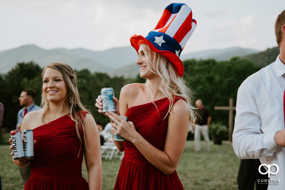 Bridesmaid dancing at the reception.