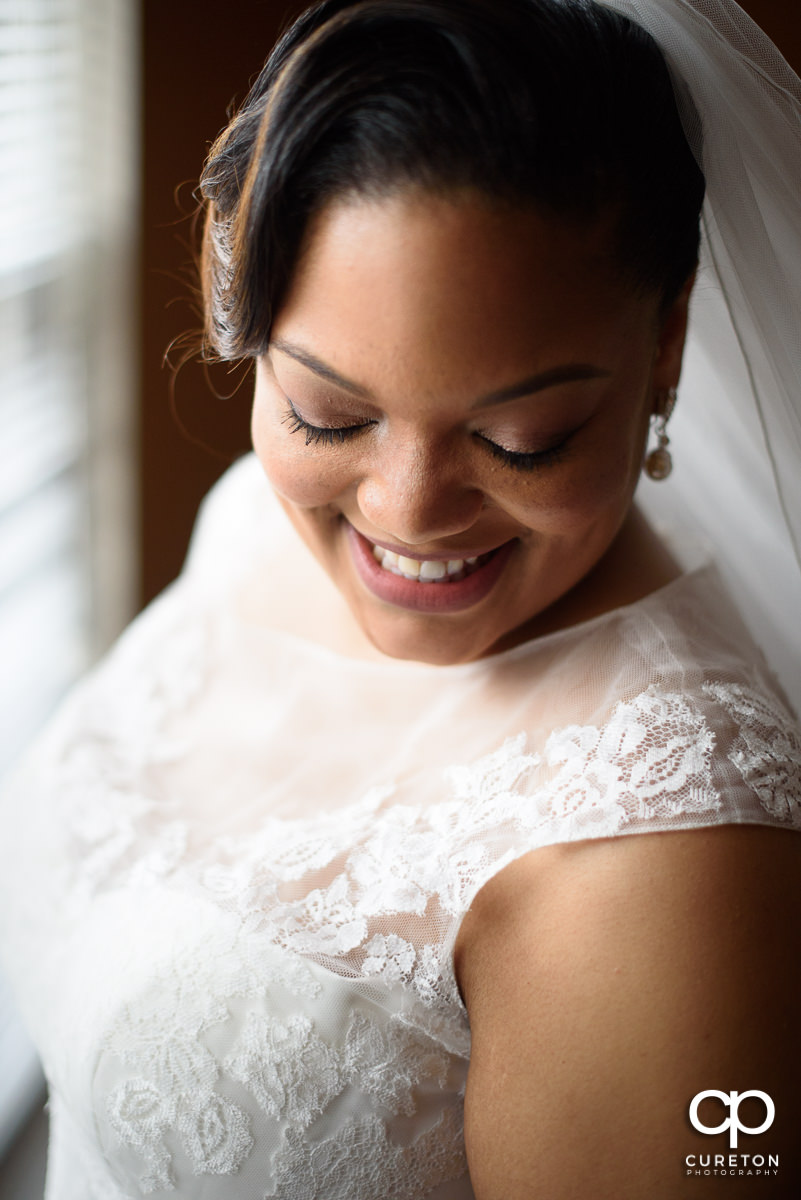 Beautiful bride before her wedding ceremony.