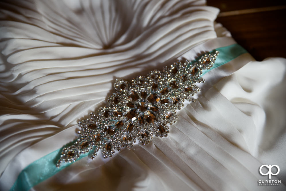 Detail in the bride's dress.