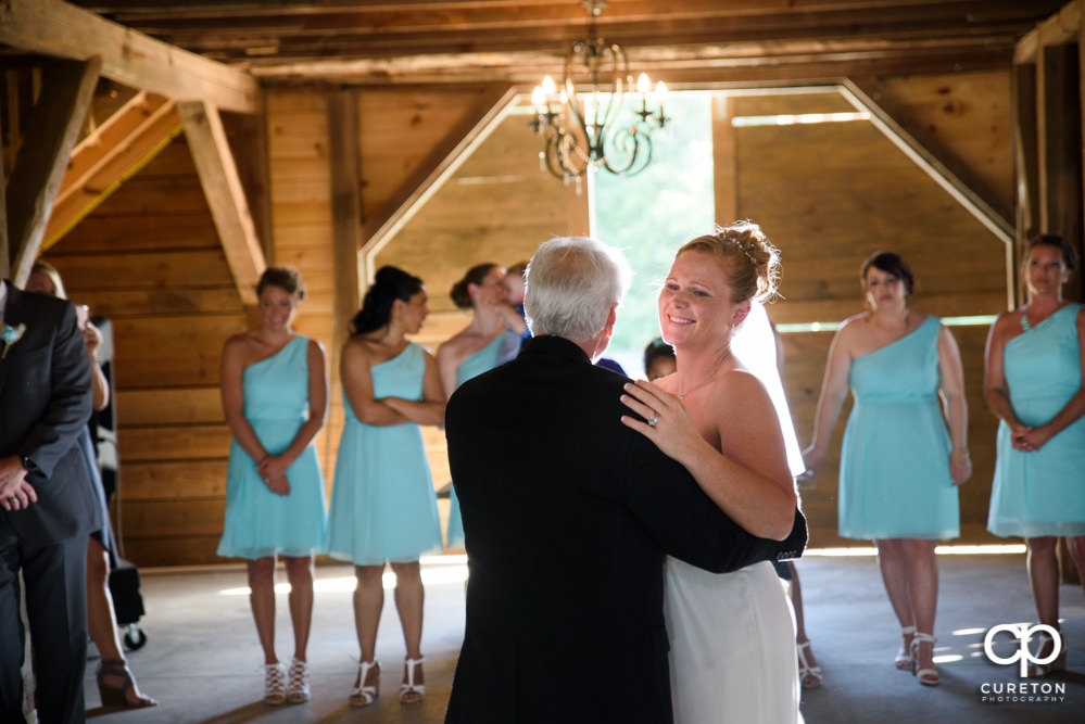 Bride and father dance at their wedding reception at The Barn at Forevermore Farms.