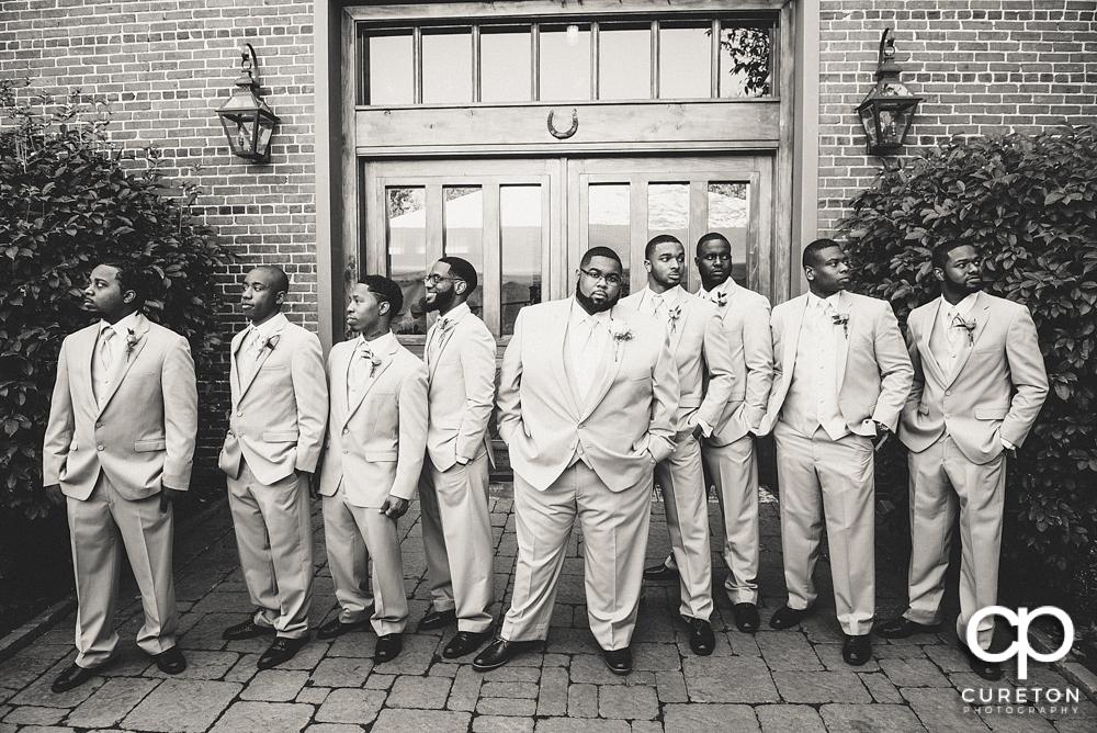 Groomsmen outside the Bleckley Inn.