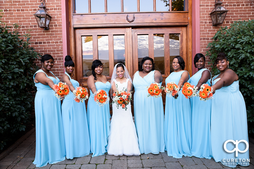 Bridesmaids outside of the Bleckley Inn.
