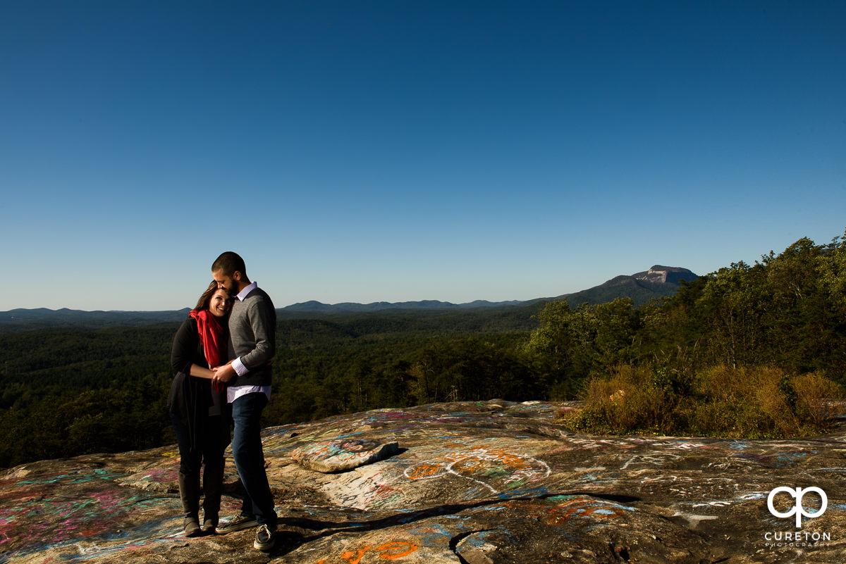 Engaged couple on Bald Rock.