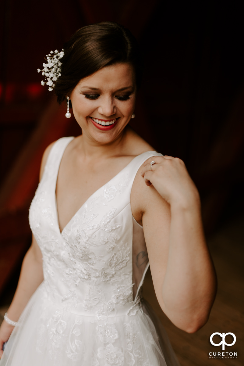 Bride smiling during her bridal session.