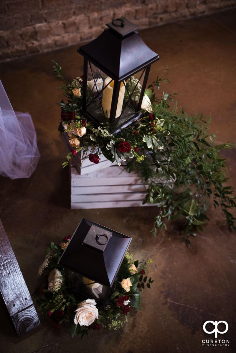 Lanterns by the wedding alter.