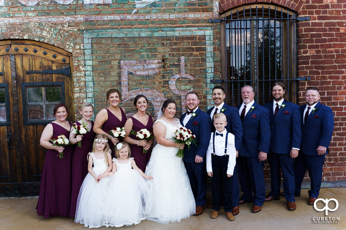 Wedding party at The Old Cigar Warehouse in downtown Greenville before the wedding ceremony.