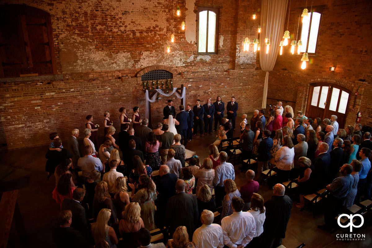 Old Cigar Warehouse indoor wedding ceremony venue in downtown Greenville,SC.