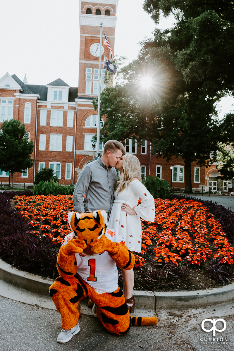 Engaged couple kissing as the Clemson Tiger mascot covers his eyes during their engagement session on the Clemson campus.