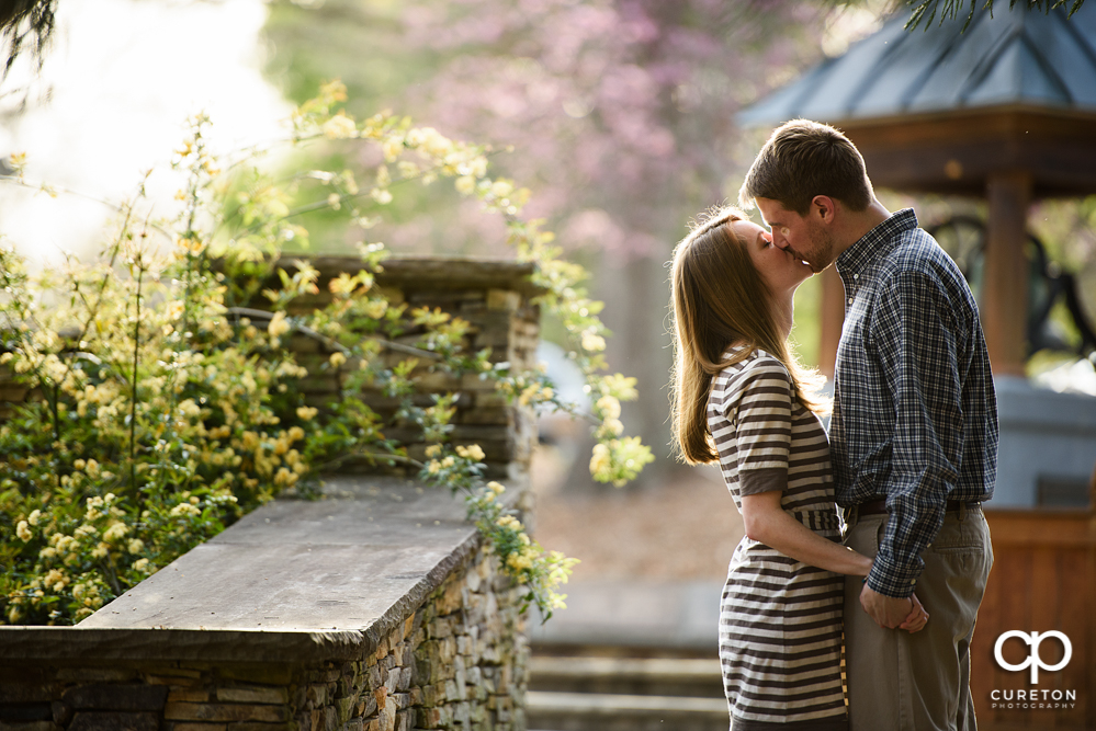 Engaged couple kissing during a Clemson Botanical Gardens engagement session.