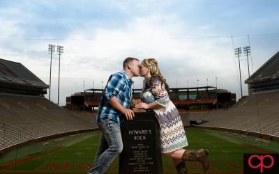 Stadium Engagement Session – Melissa + Mark- Clemson SC Wedding Photographers