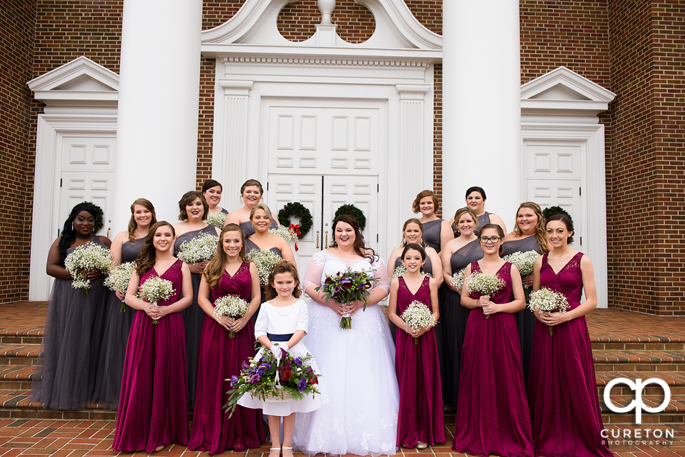 Bridal party on the steps of Southside Baptist Church in Spartanburg.