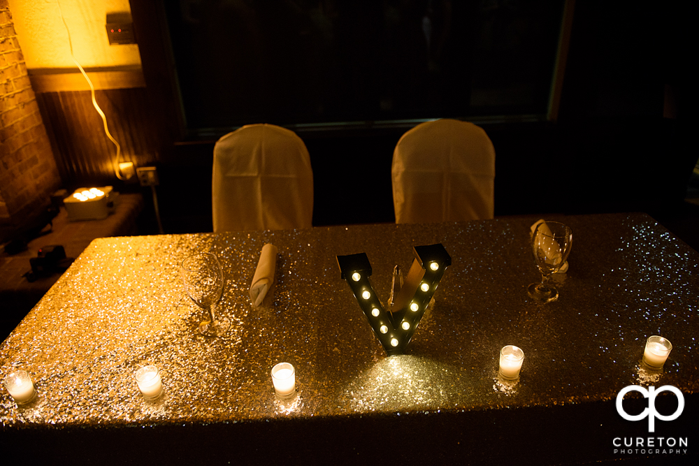 Bride and groom's sweetheart table.