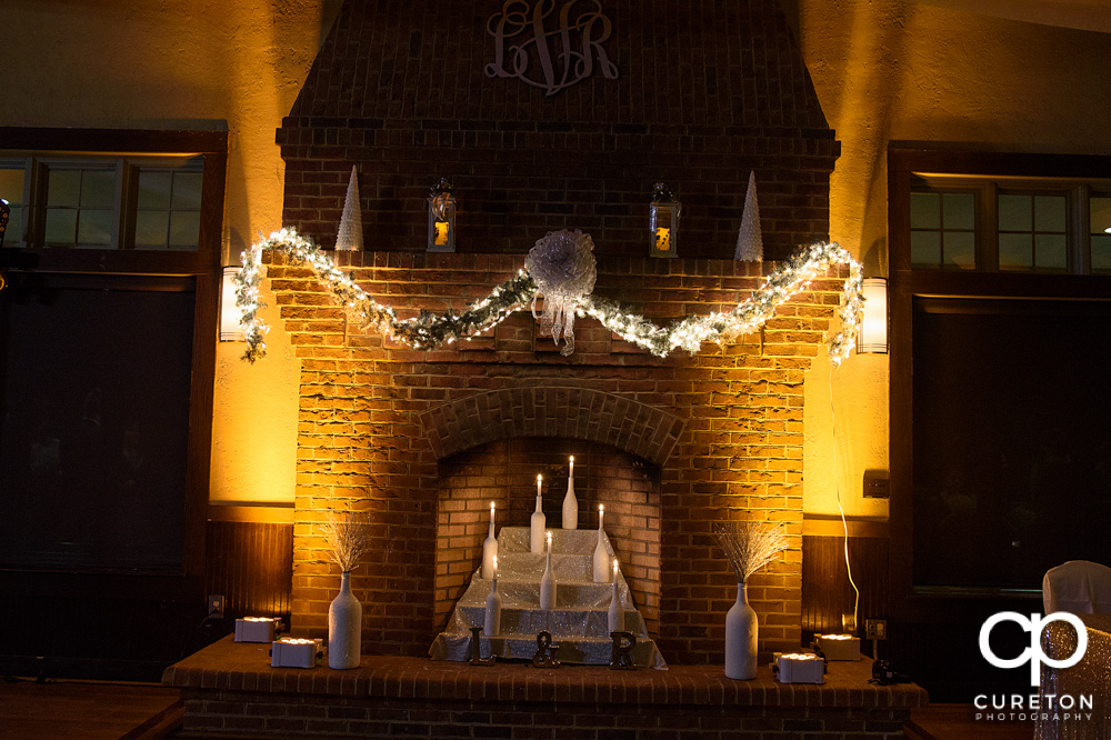 Fireplace at Cleveland Park decorated for the wedding reception.