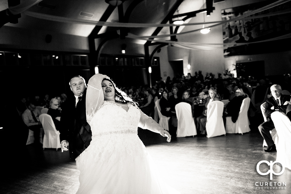 Bride and groom having their first dance at the Cleveland Park wedding reception.