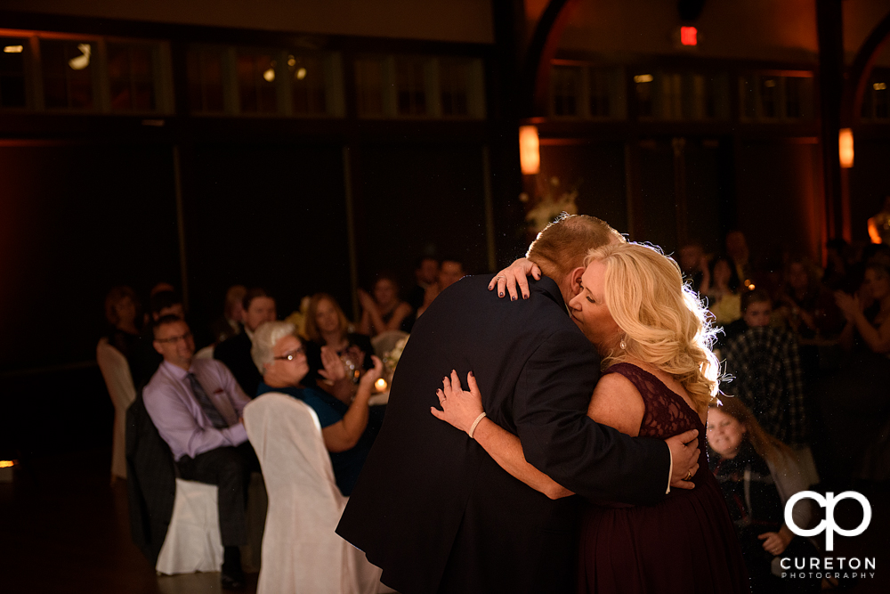 Groom and his mother sharing a dance at the Cleveland Park wedding reception.