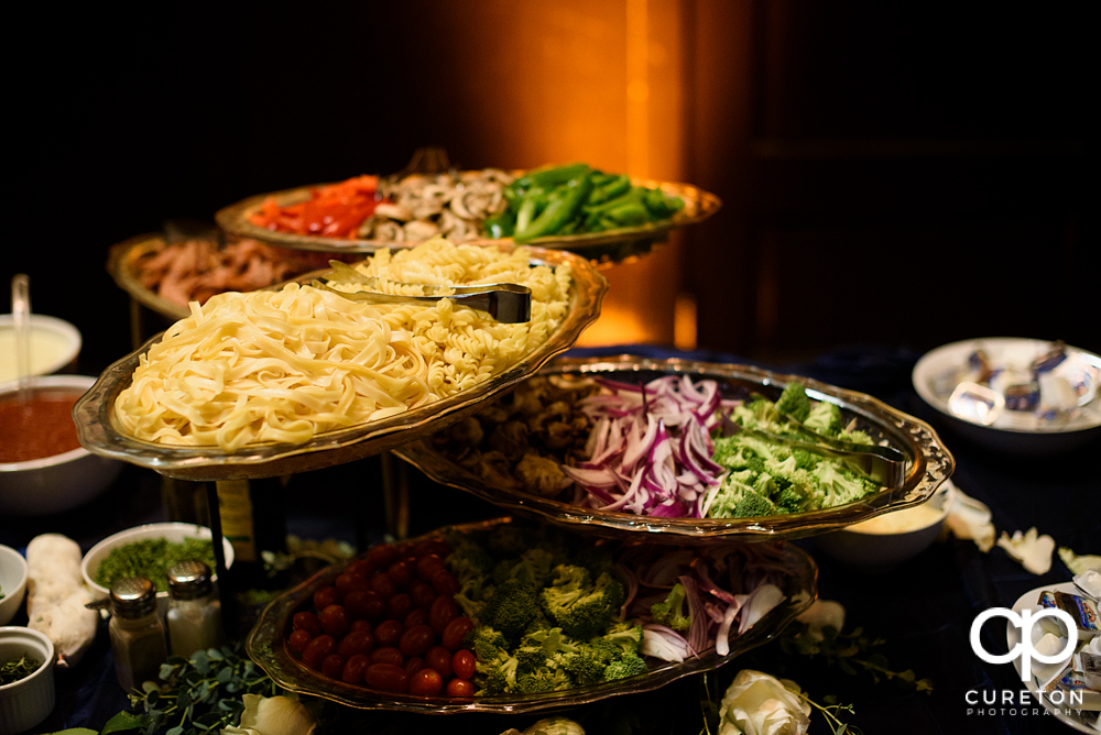 Food by Laurenda's catering at the wedding reception.