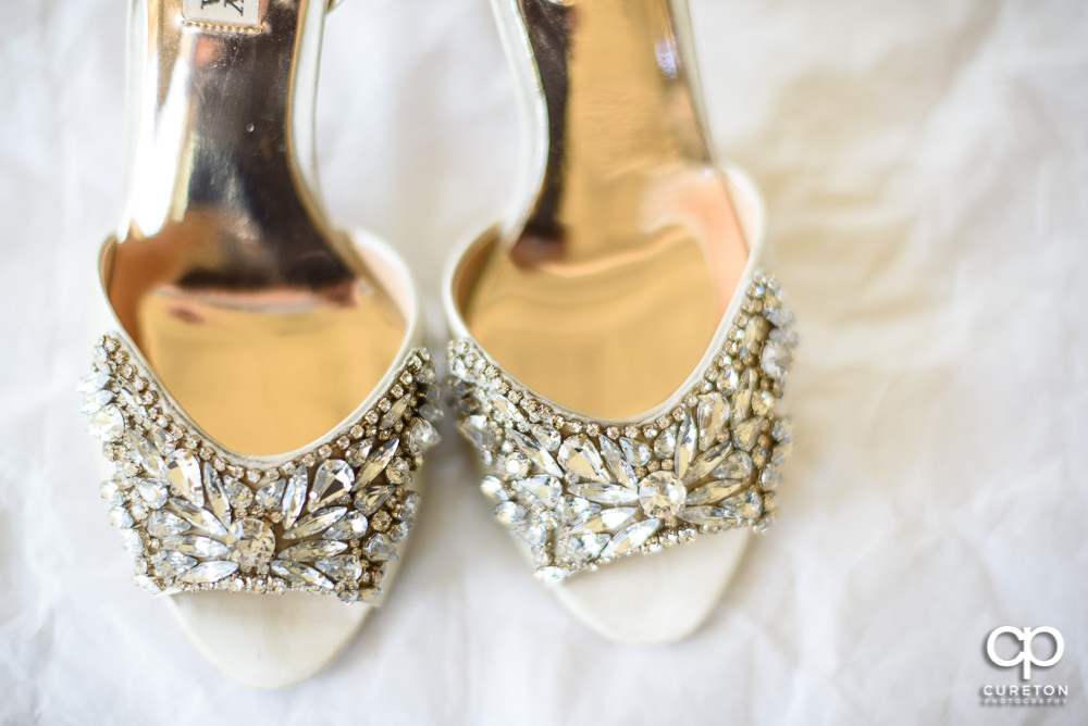 Brides shoes closeup.