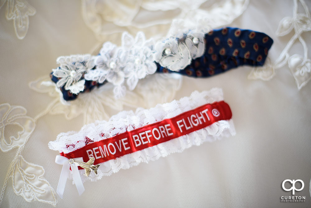 Bride's flight themed garter.