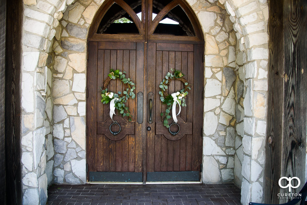 Beautifully adorned doors at the Cliffs Glassy Chapel.