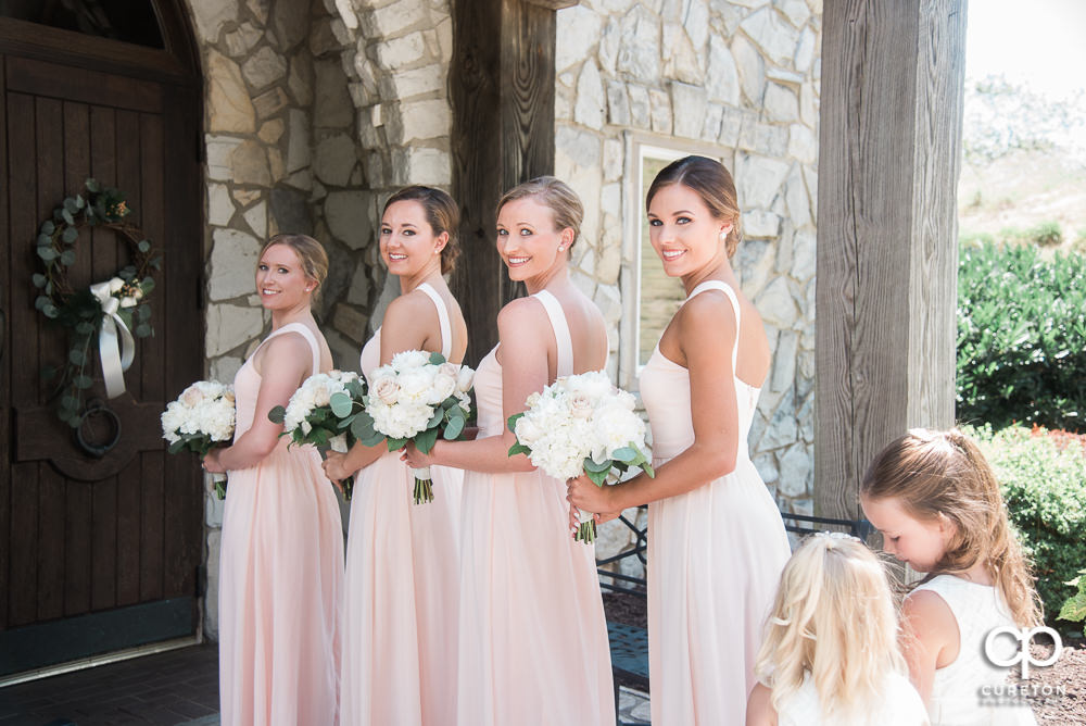Bridesmaids lining up for the ceremony.
