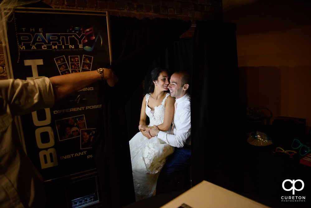 Bride and Groom in the Party Machine photo booth.