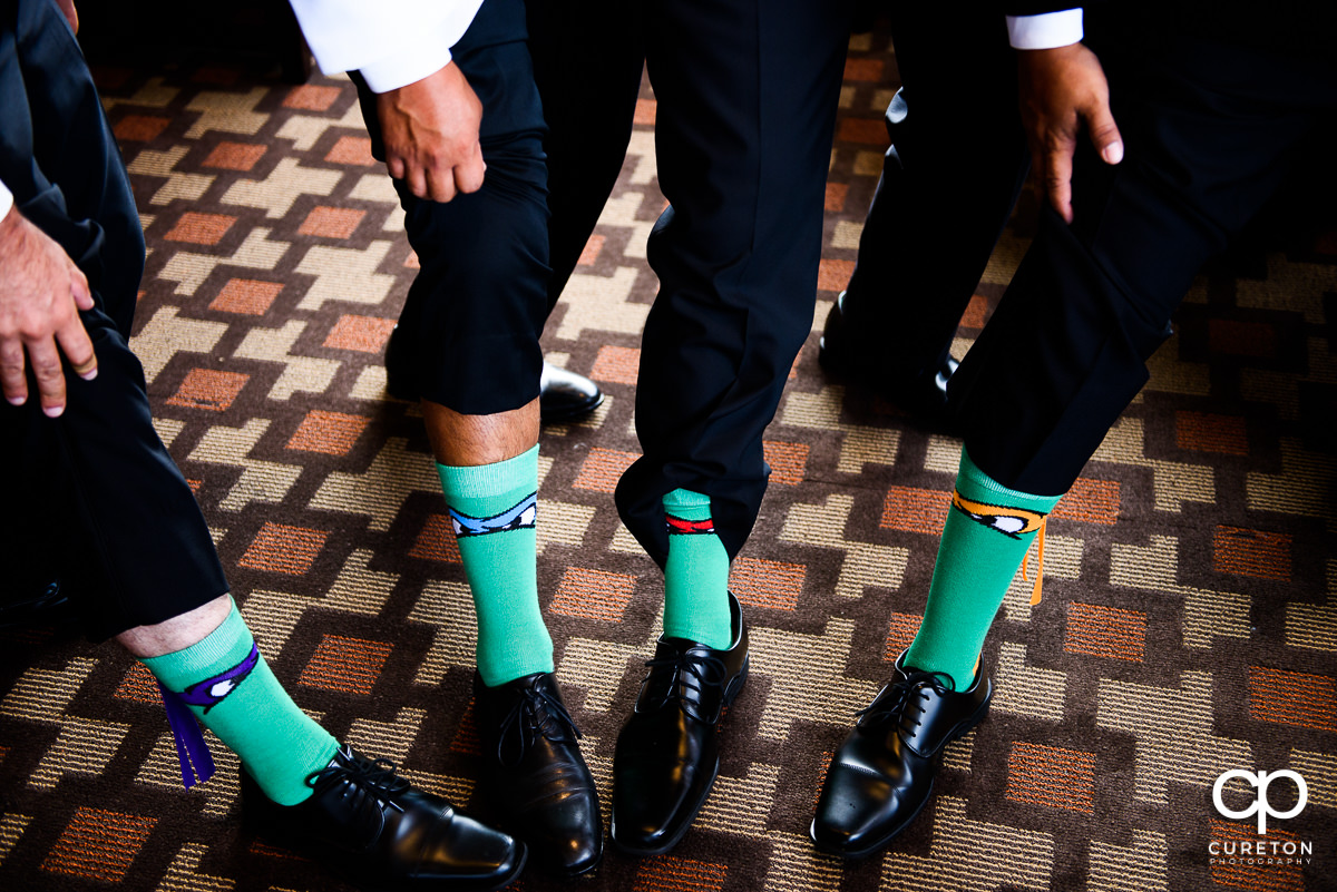 Groomsmen matching socks.