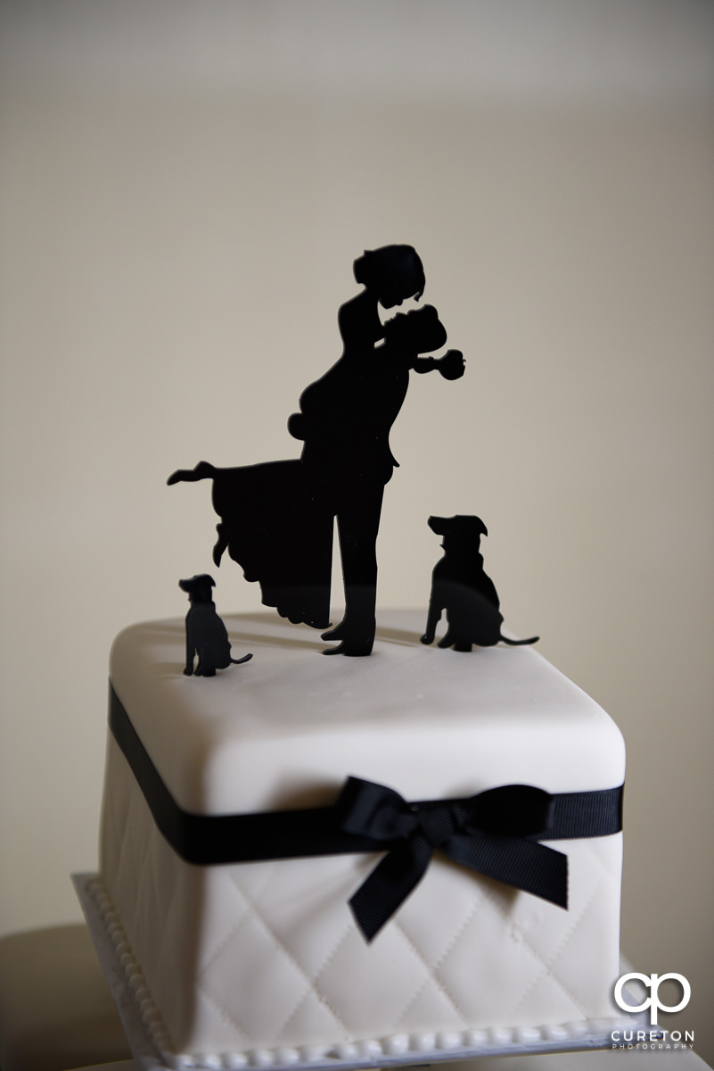 Custom wedding cake topper with dogs.