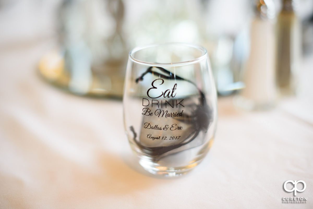 Wedding wine glass favors.