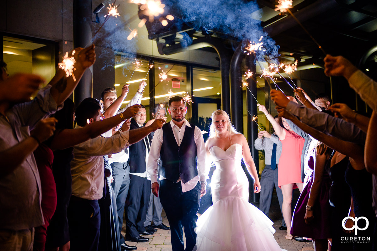 Sparkler leave at the Commerce Club wedding in Greenville,SC.
