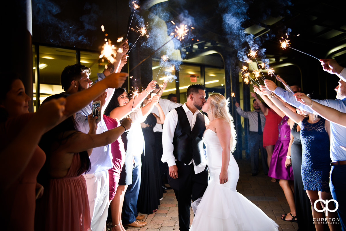 Sparkler grand exit at the Commerce Club wedding in Greenville,SC.