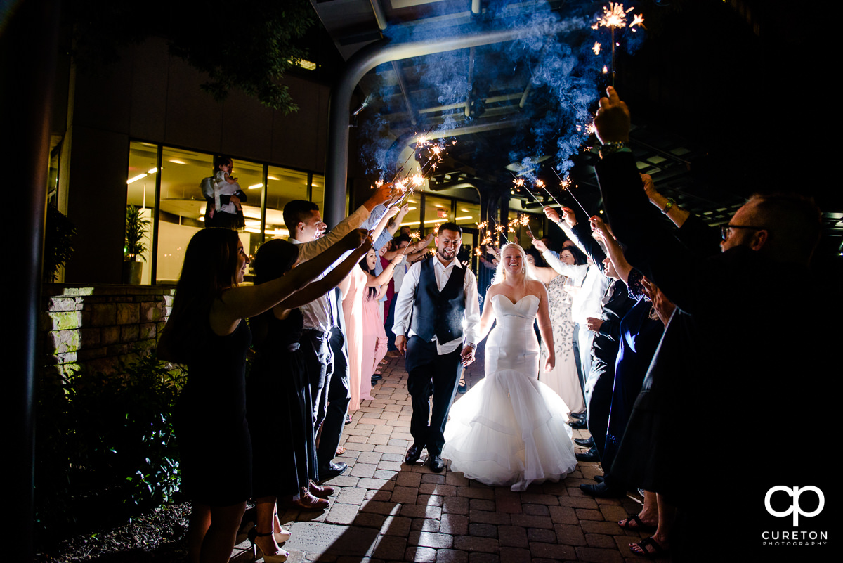 Sparkler wedding leave at the Commerce Club in Greenville,SC.